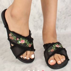 Shoes - HUGE SALE Sexy Black Floral Embroidered Sandals